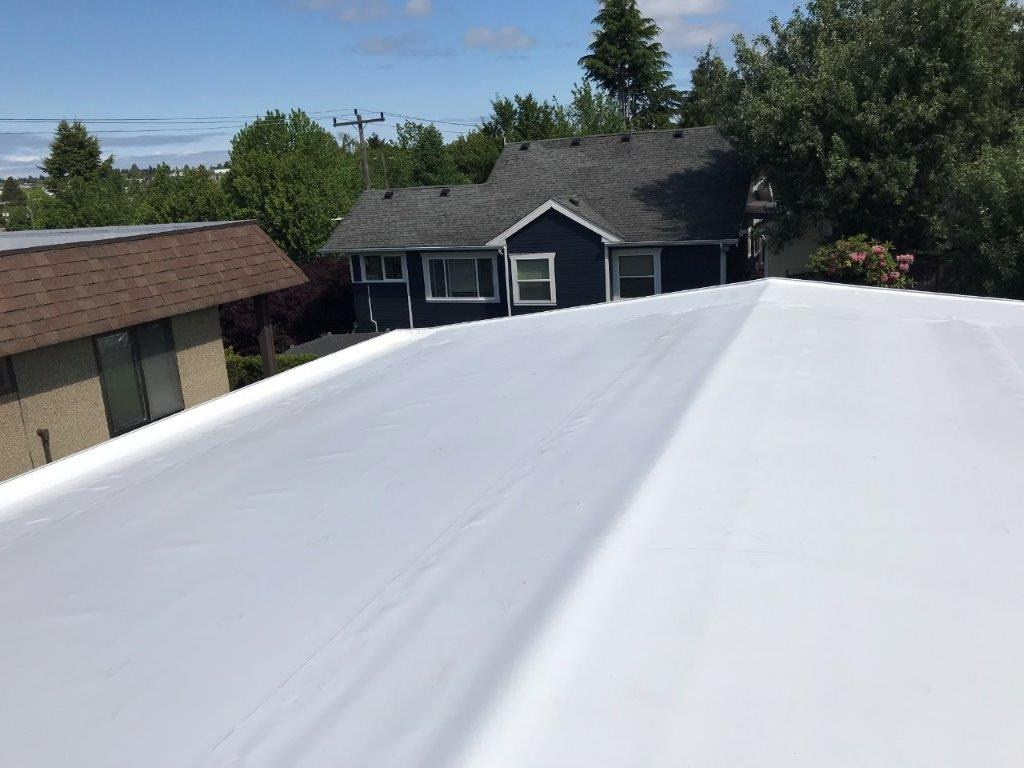 TPO in white over PolyIso insulation