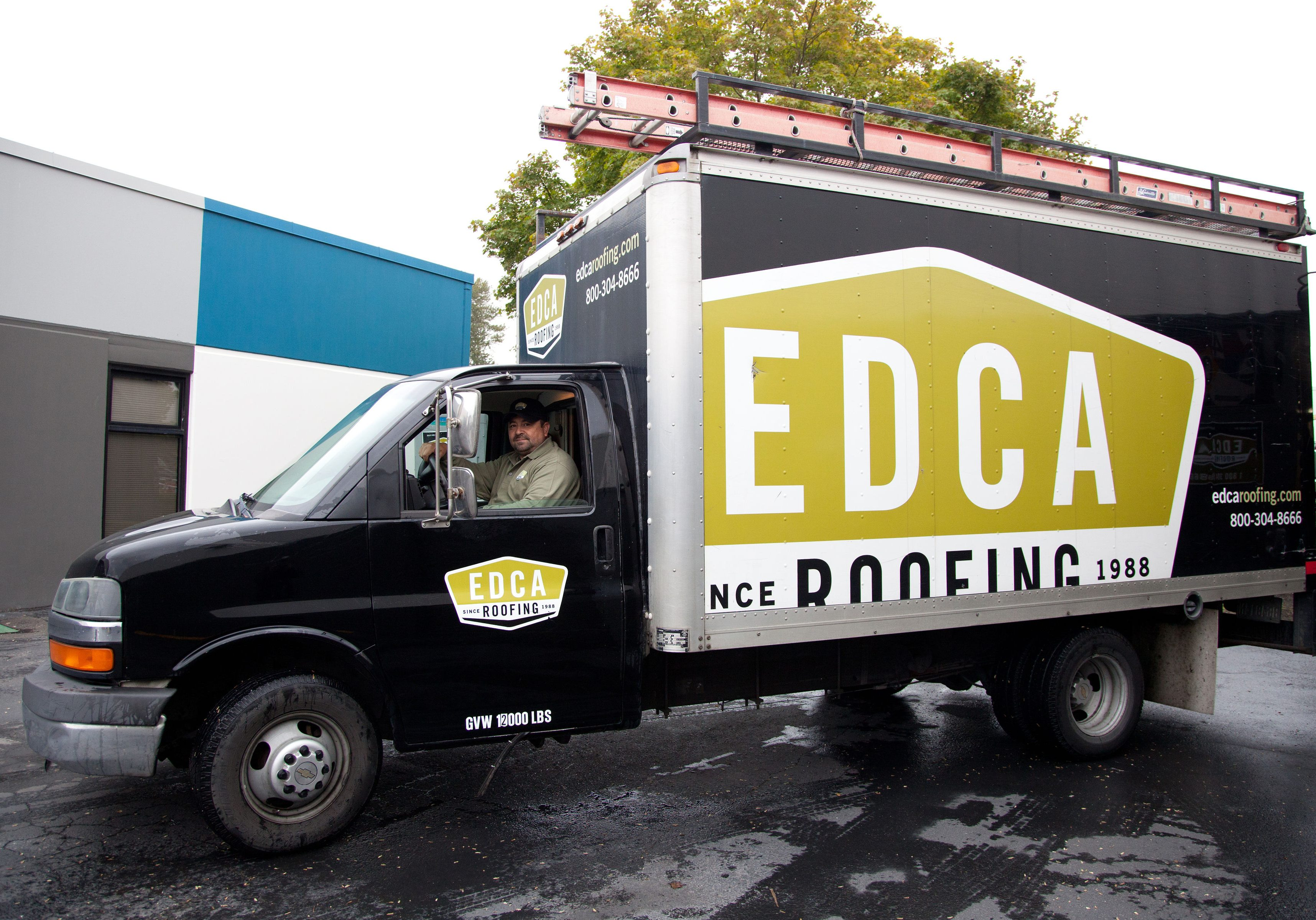 A photo of an EDCA Roofing work vehicle